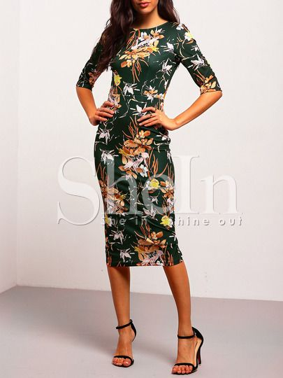 Shop Green Mock Neck Floral Sheath Dress online. SheIn offers Green Mock Neck Floral Sheath Dress & more to fit your fashionable needs.