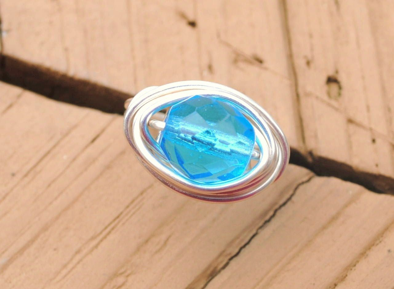 Wire Wrapped Ring Blue Ice Glass Bead Non Tarnish