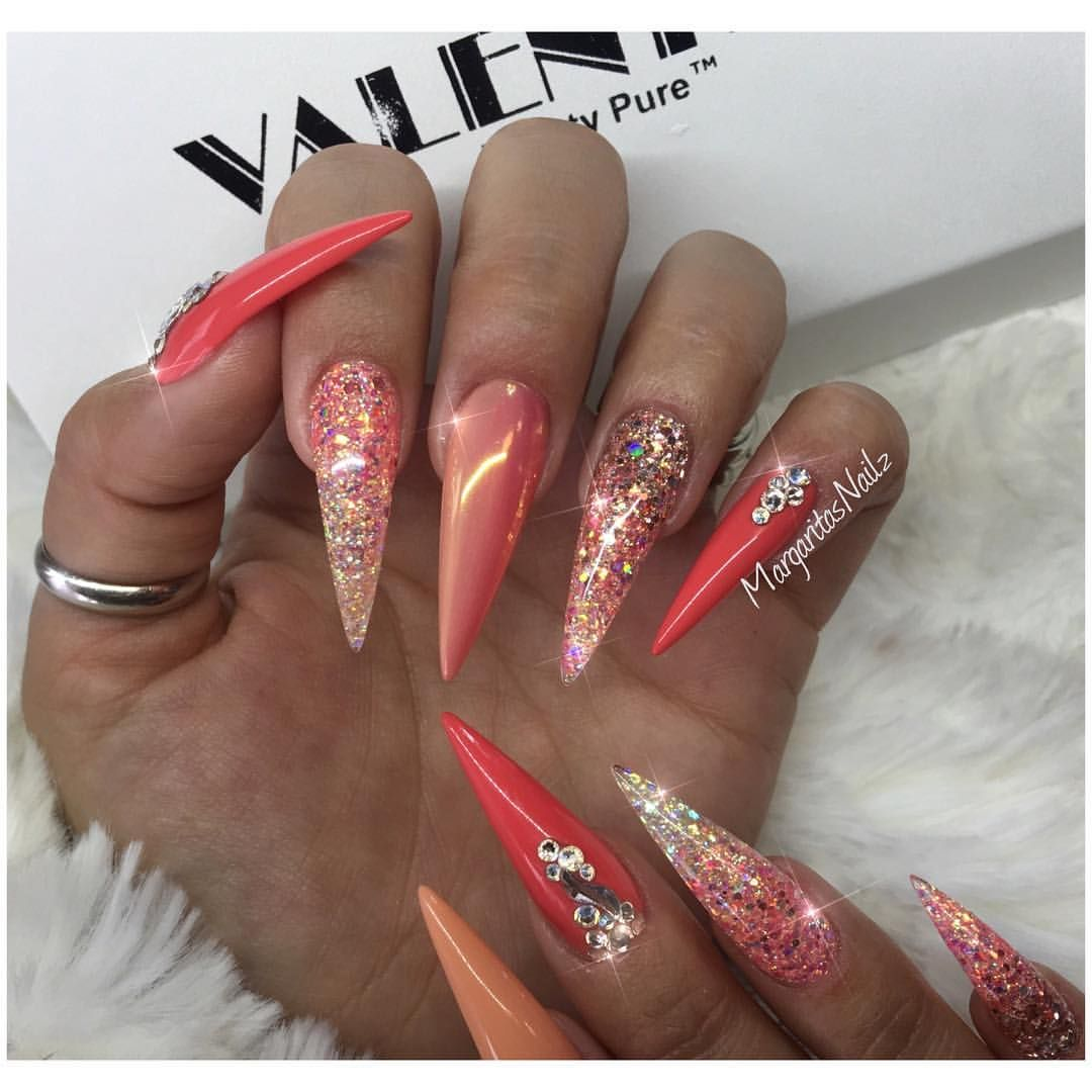 Coral chrome ombre stiletto nails rose gold nail art glitter ombré summer # nails #glitter - Coral Chrome Ombre Stiletto Nails Rose Gold Nail Art Glitter Ombré