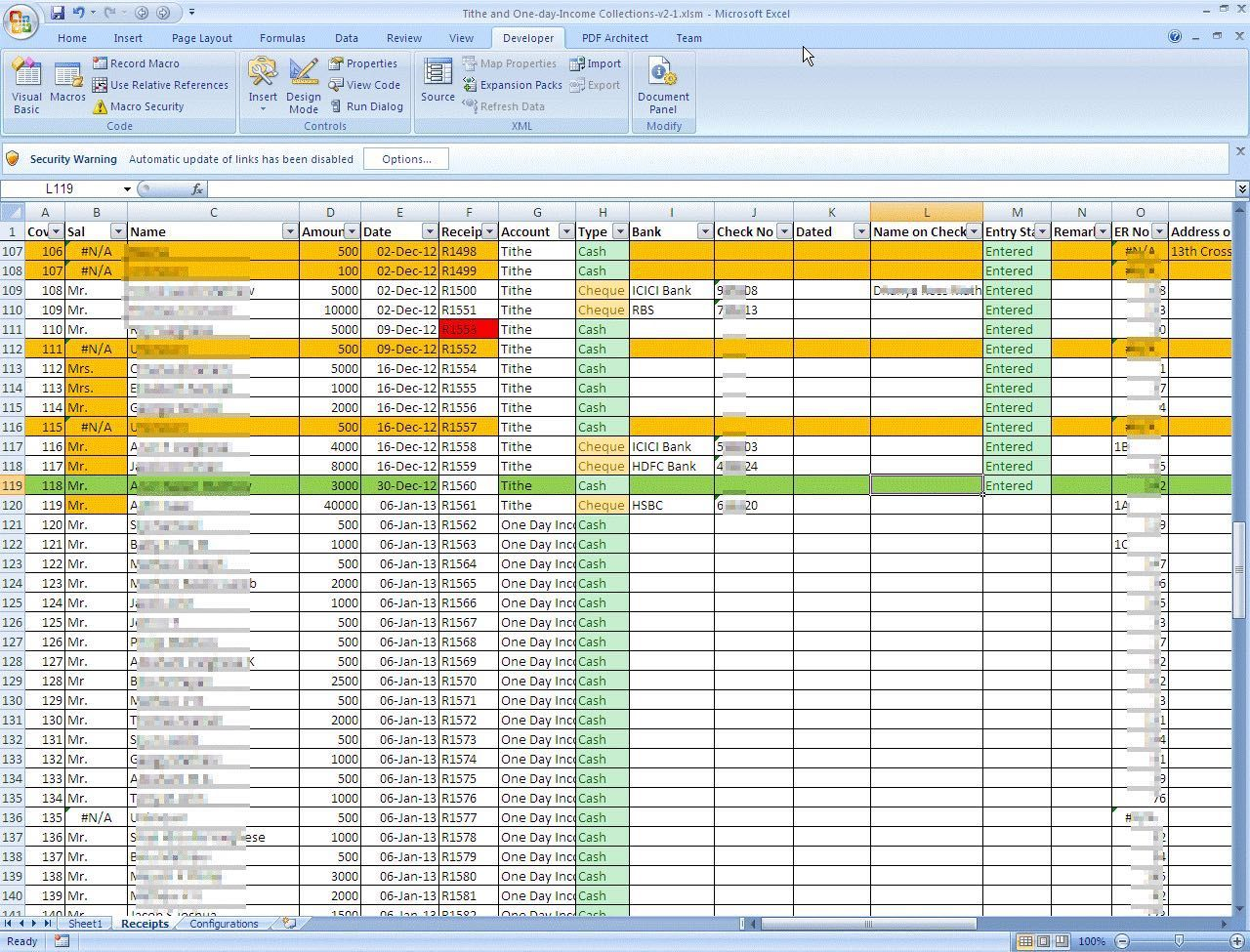 Church tithe and offering spreadsheet in 2020