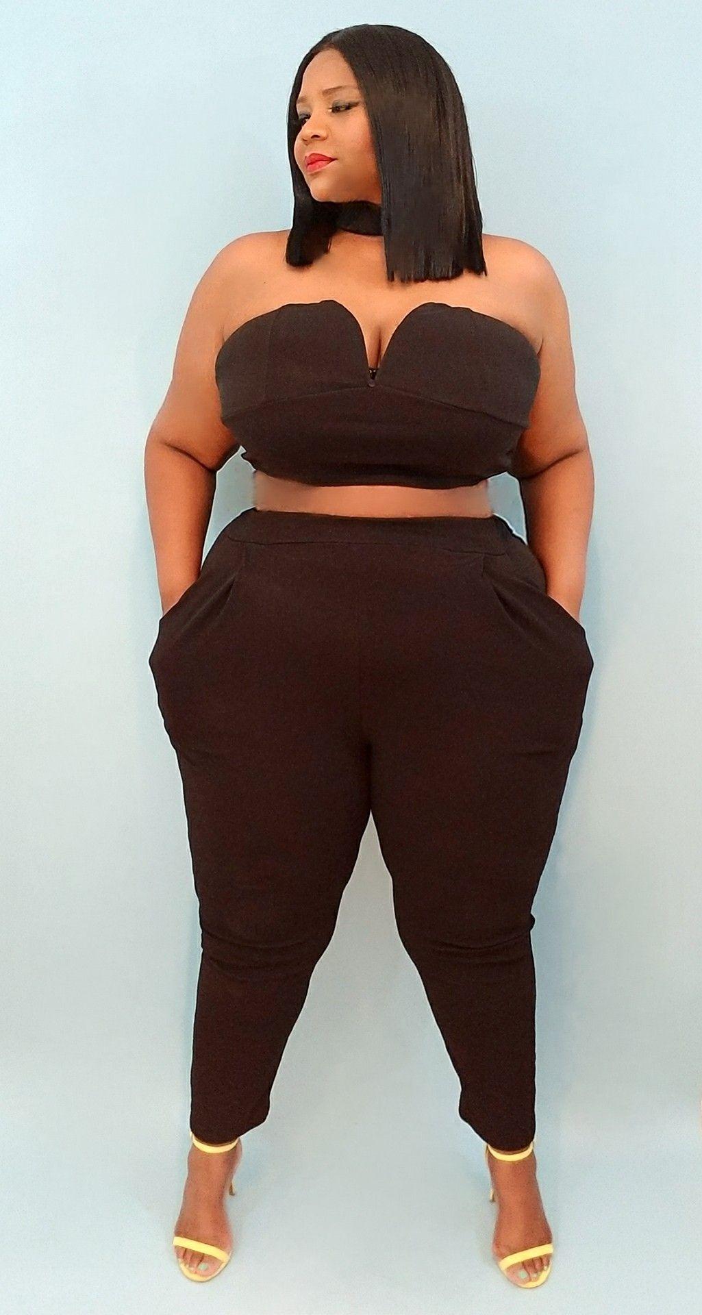 1f25b84cd Plus Size 3 Piece Choker High Waisted Pants Set | BODY POSITIVITY ...