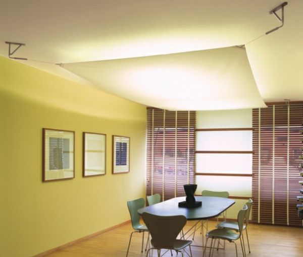 Suspended ceiling made of textile wall covering dining