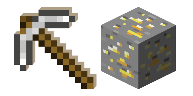 Minecraft Iron Pickaxe And Gold Ore Minecraft Iron Minecraft Minecraft Printables