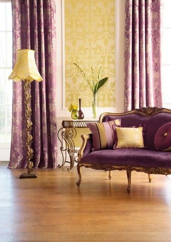 Luxurious Purple And Gold Living Room