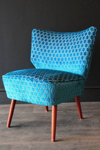 Upcycled 1950s Bartholomew Cocktail Chair Teal Blue