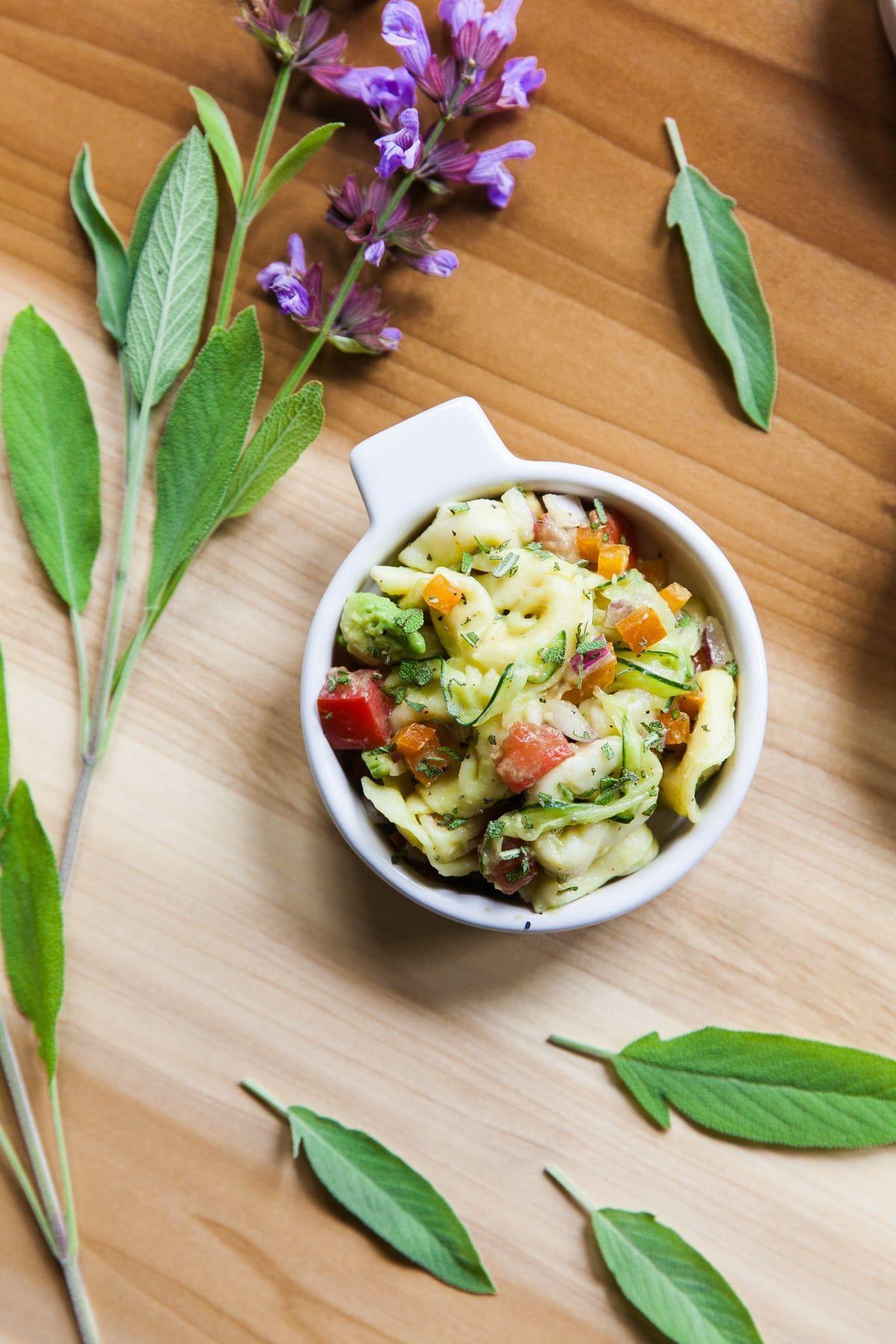 Avocado Tortellini Salad with Fresh Vegetables + Garden Sage -