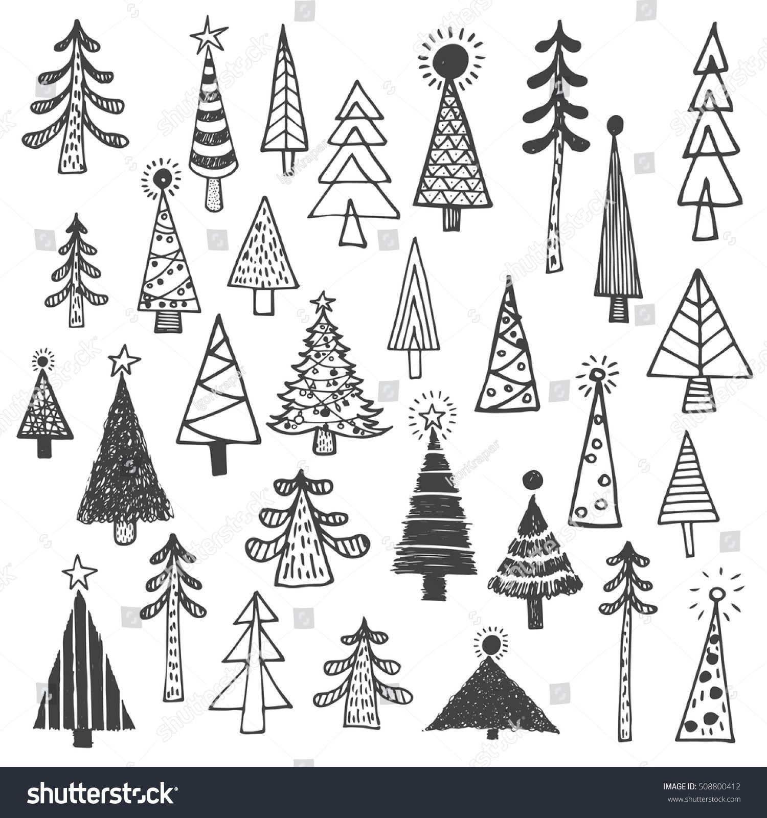 Stock Vector Royalty Free On Fir Simple Drawing Set508800412 Drawing Fir Free Royal In 2020 Christmas Tree Drawing Tree Drawing Simple Christmas Tree Drawing Easy