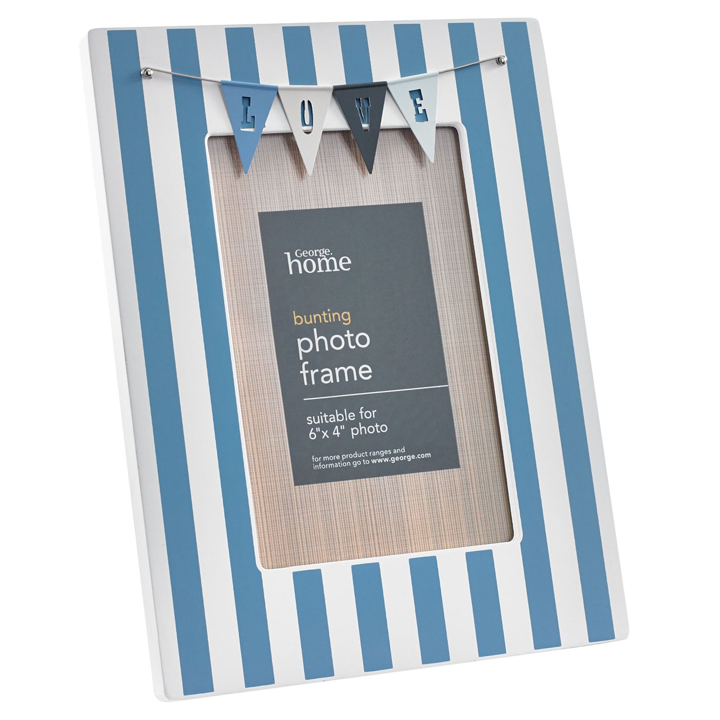 George Home Small Blue Bunting Frame | Photo Albums & Frames | ASDA ...