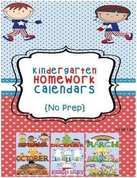 Kindergarten Homework Ela For The Year  Homework Calendar