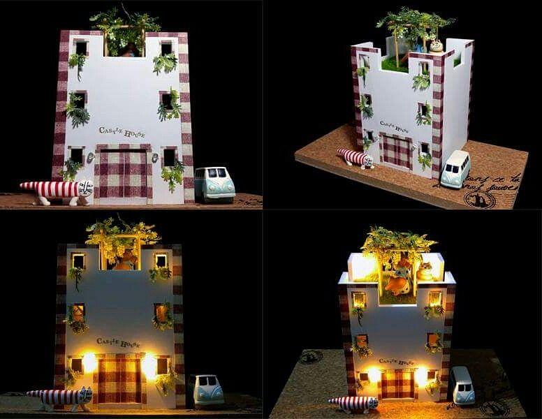 S\u003d1/50創作住宅模型です。100円ショップの材料を