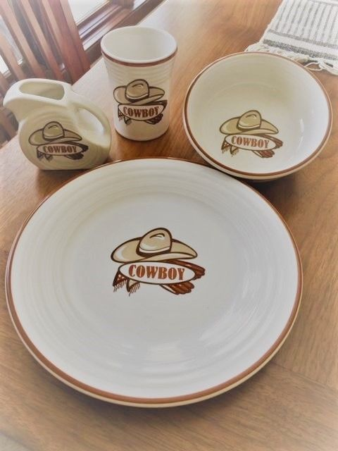 Fiestaware Childrens Dinnerware set  Cowboy  Excellent condition | Dinnerware Fiestaware outlet and Homer laughlin & RARE! Fiestaware Childrens Dinnerware set