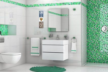 Image Result For Green Mosaic Bathroom Tiles