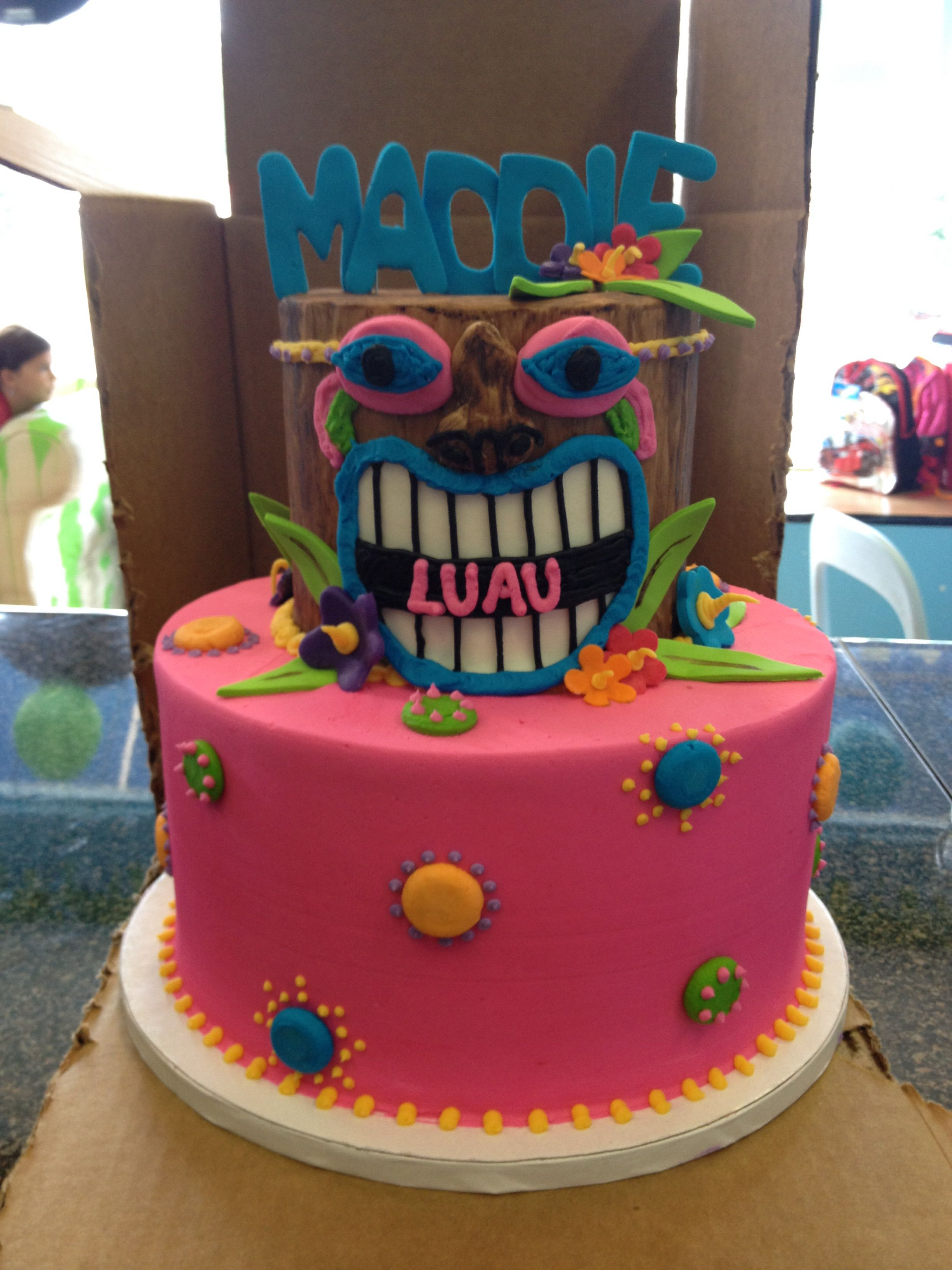 Luau Tiki Totem Pole Hawaiian Birthday Cake