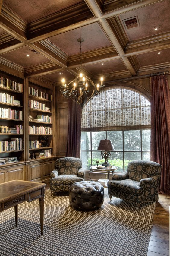 rich colored wooden coffered ceiling for a library | Дом ...