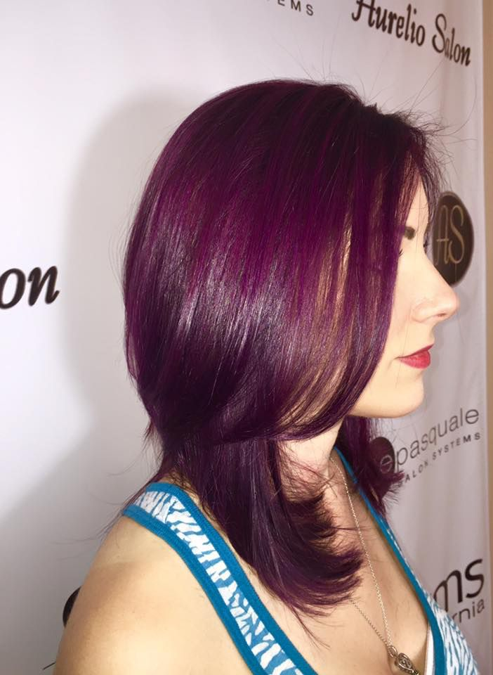 Deep Violet Plum Color Done With Element 3 Stylist Jenna Goldwell