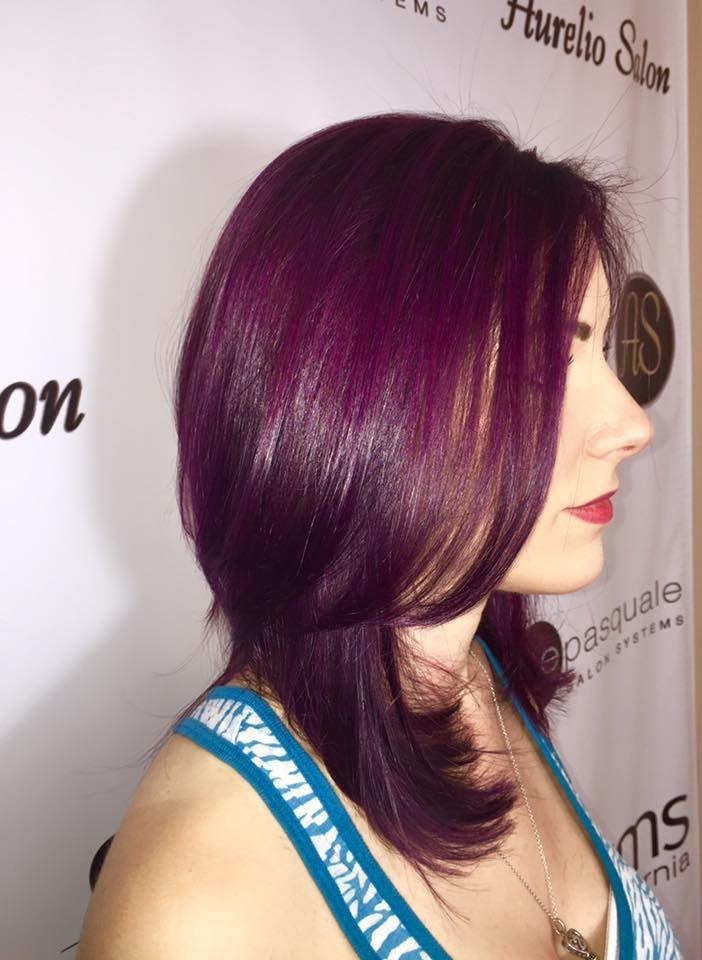 Deep violet plum color, done with element 3 stylist Jenna! #goldwell #elumen #violethair