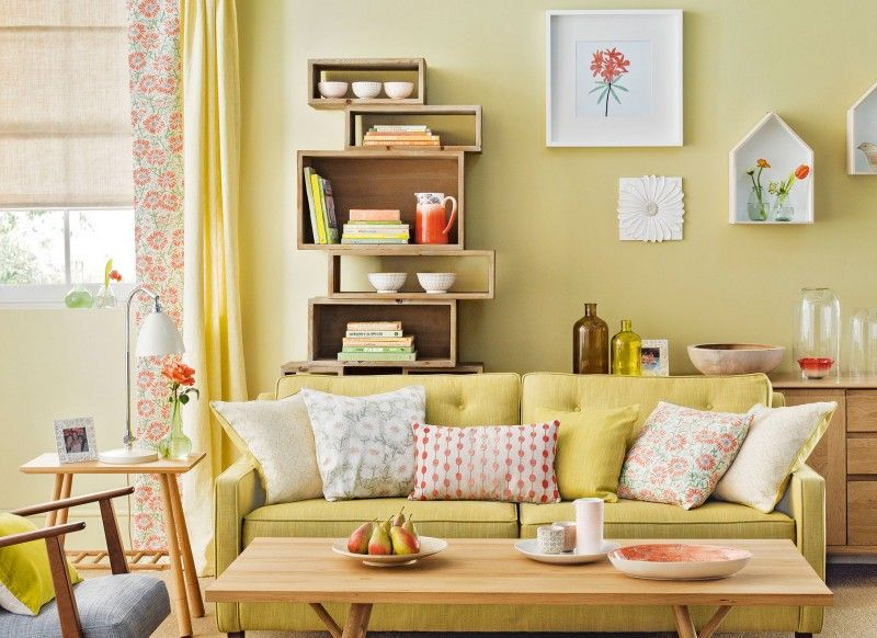 Lemongrass Yellow Living Room with Bookcase | living room ...