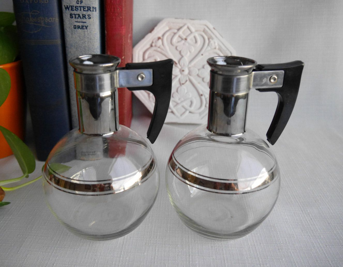 Set of Pyrex Silex Individual Glass Coffee Carafes, Mid
