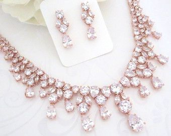 rose gold wedding jewelry rose gold bridal necklace crystal