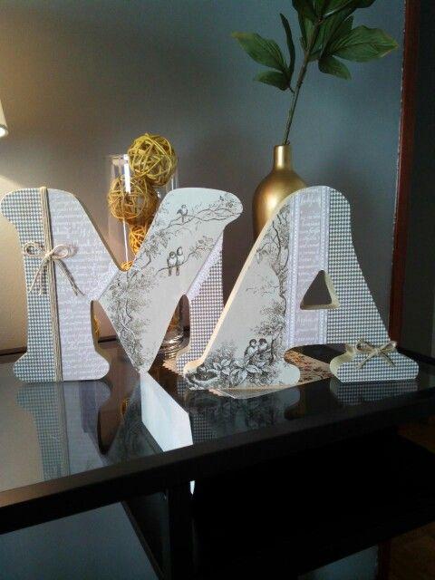 Letras de madera decoradas decoupage more pinterest - Ideas para decorar letras de madera ...
