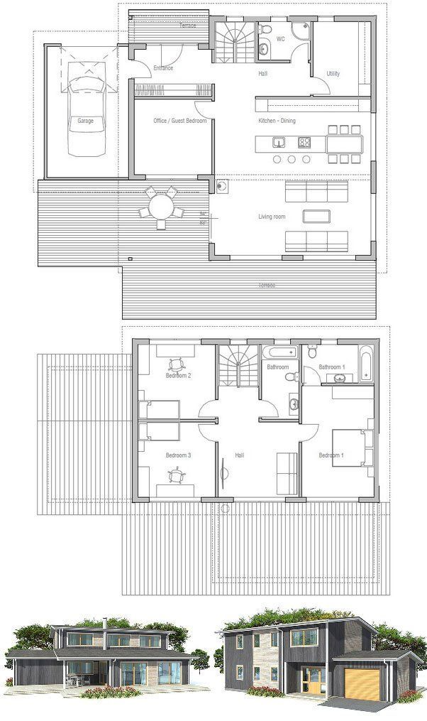 Modern House Ch153 Sims House Plans House Blueprints House Plans