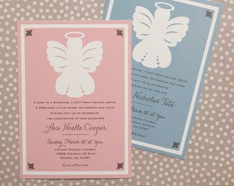 Angel Wing Invitation Baptism fist communion baby shower first
