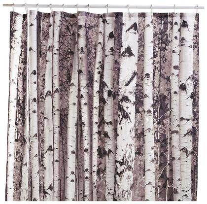 Kikkerland Shower Curtain Birch Fabric Shower Curtains Tree
