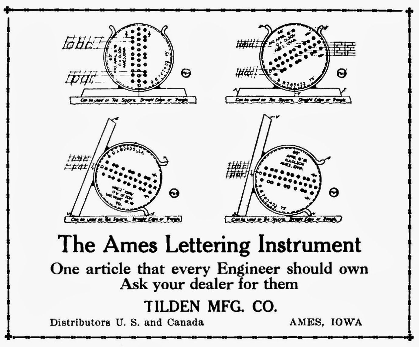 Tenth Letter Of The Alphabet Creator O A Olson Ames Lettering Guide Inventor