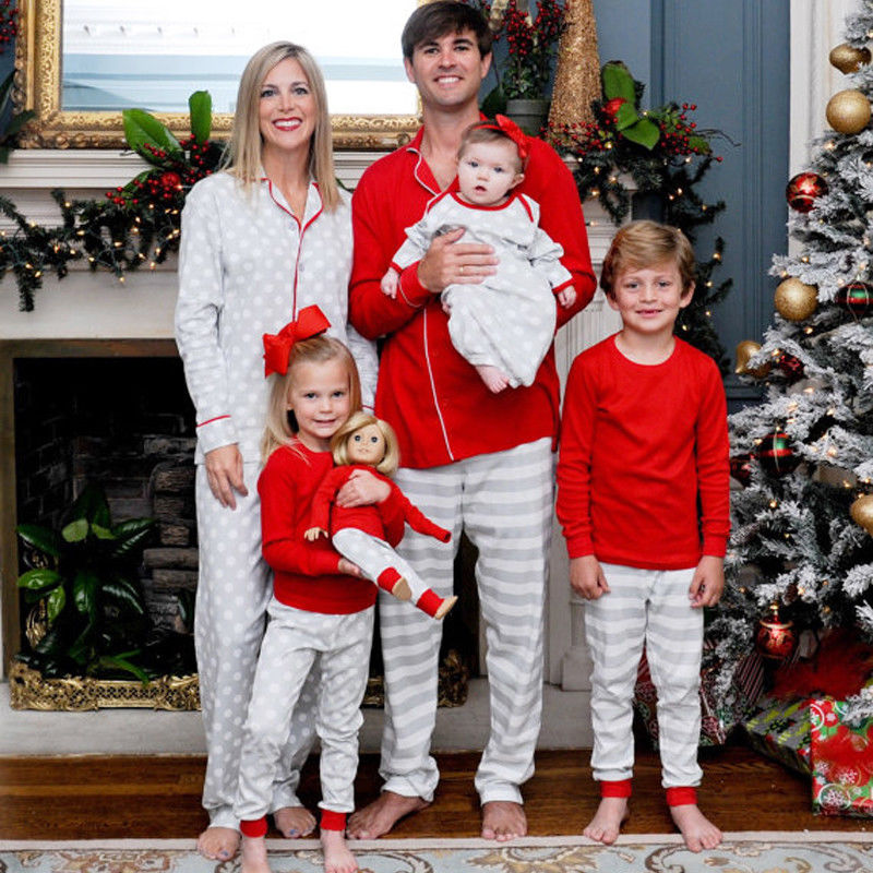 f9879f05a1 Xmas Family Matching Christmas Pajamas Set Women Baby Kids Sleepwear  Nightwear