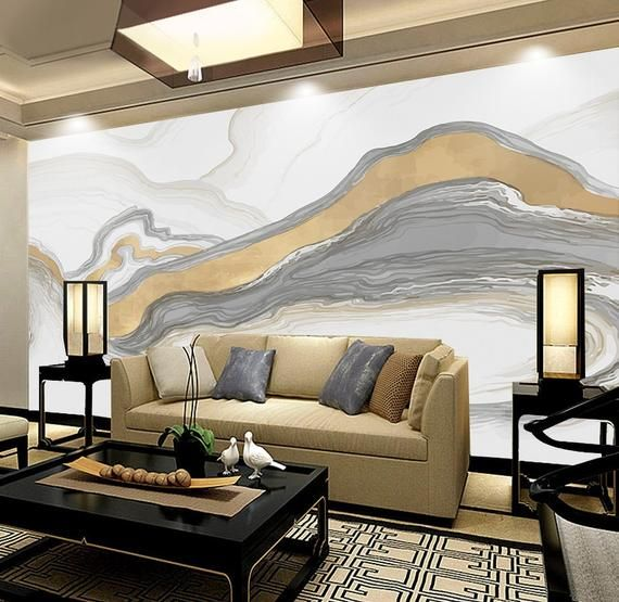 Abstract Wallpaper Soft Gray Line Wall Mural Gold Color ...