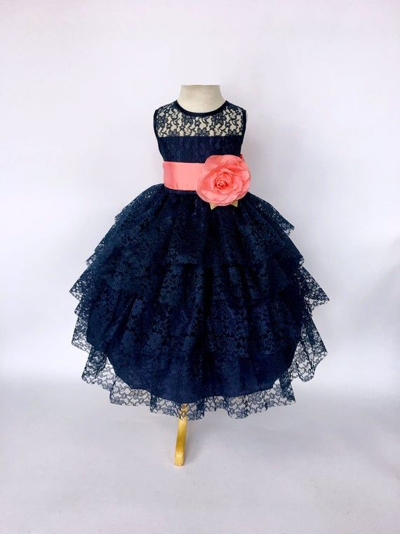 Chic Sleeveless Coral Satin Sash Navy Blue Lace Ruffle Dress 2 4 6 8 10 12 14 Wedding Flower Girl Easter Fall Spring Summer Graduation Prop