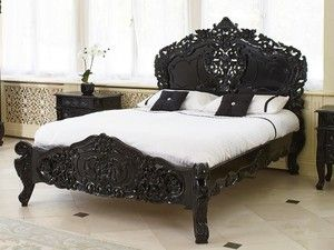 cadre de lit baroque en acajou noir 180x200 cm chambord. Black Bedroom Furniture Sets. Home Design Ideas