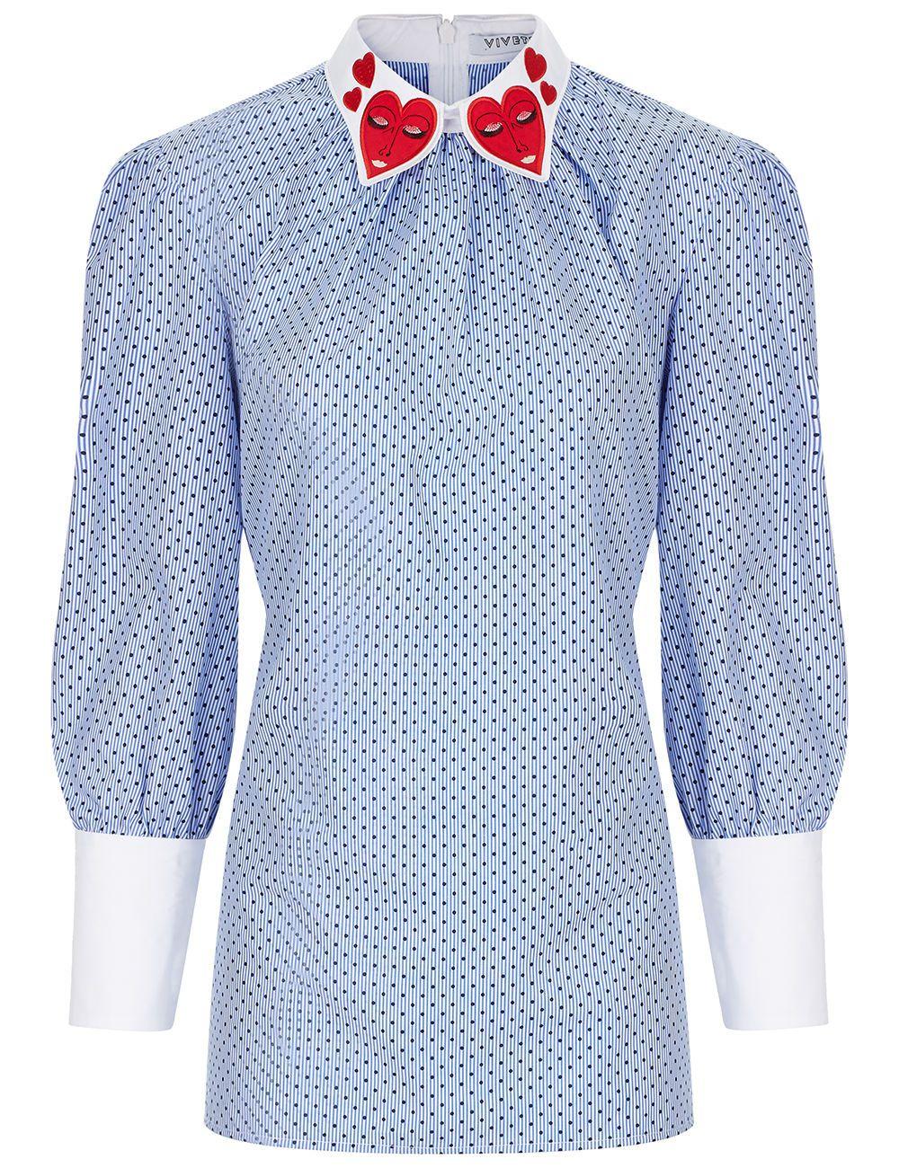 Blue Sleeve Long Vivetta Blousevivettacloth Heart Collar 6YbyIfg7v