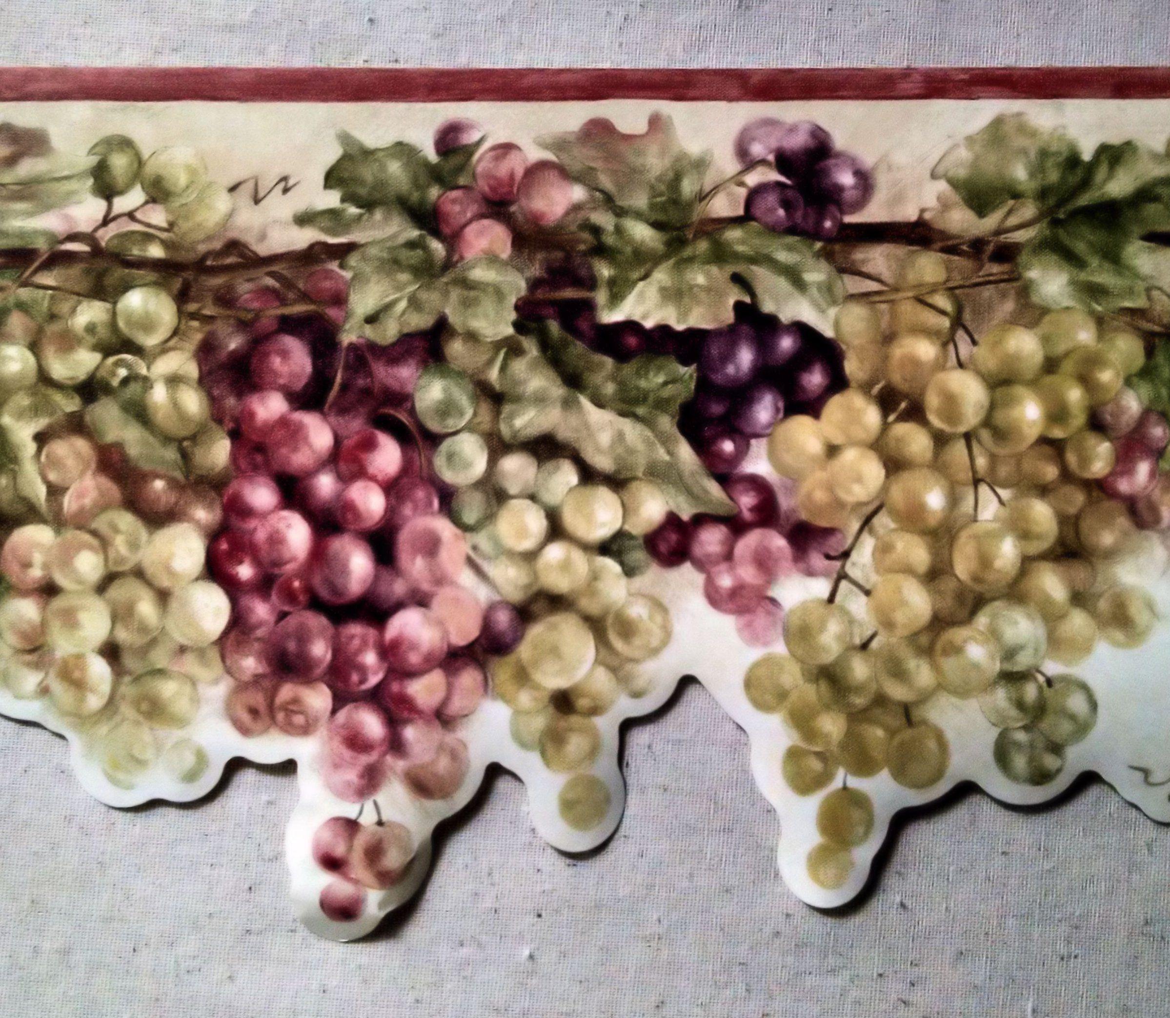 Wallpaper Border Tuscan Grapevine Red Purple & Green