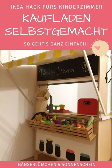 ikea hack so machst du aus deiner kinderk che duktig einen kaufladen diy pinterest kinder. Black Bedroom Furniture Sets. Home Design Ideas