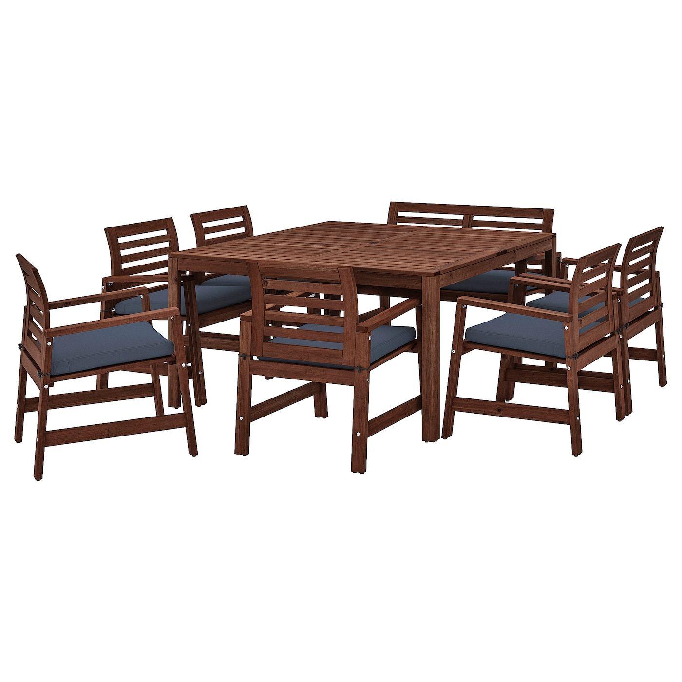 Ikea Applaro Table 6 Armchairs Bench Outdoor Applaro Brown In 2020 Ikea Outdoor Wooden Outdoor Furniture Outdoor Furniture Sets