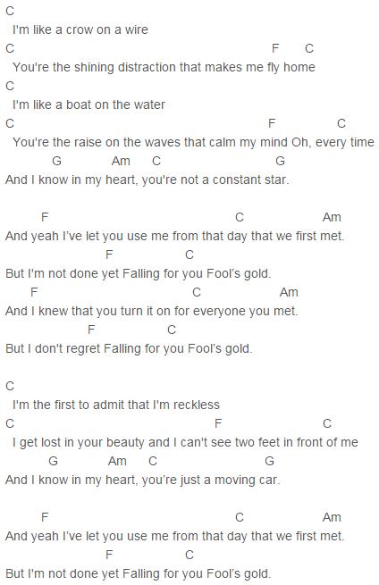 FOUR, One Direction Fool\'s Gold Chords Lyrics for Guitar Ukulele ...