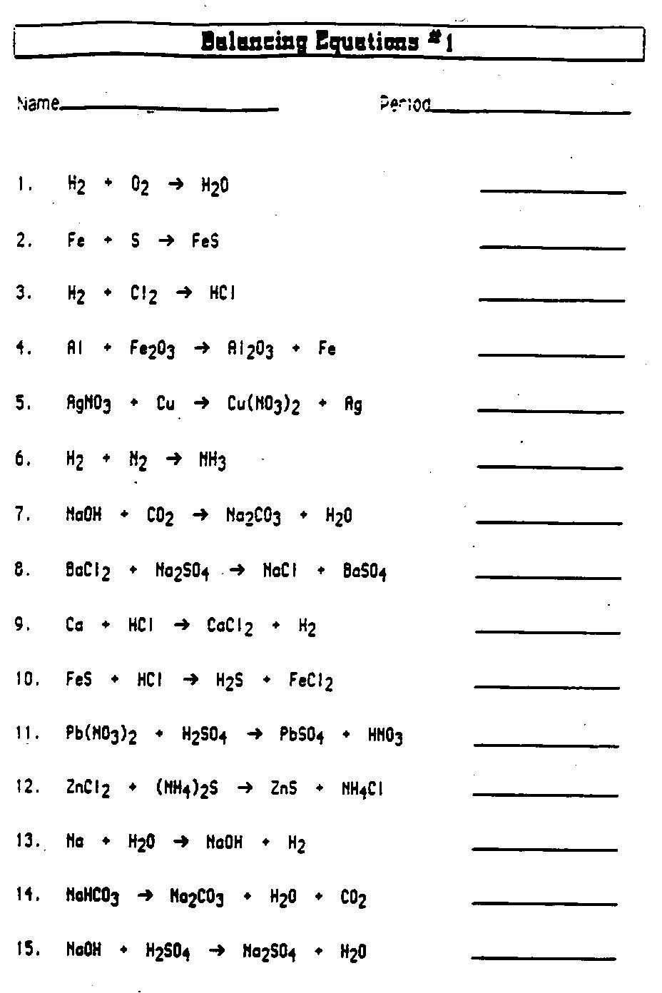 Balancing Equations Worksheet Workout Sheet Pinterest Equation