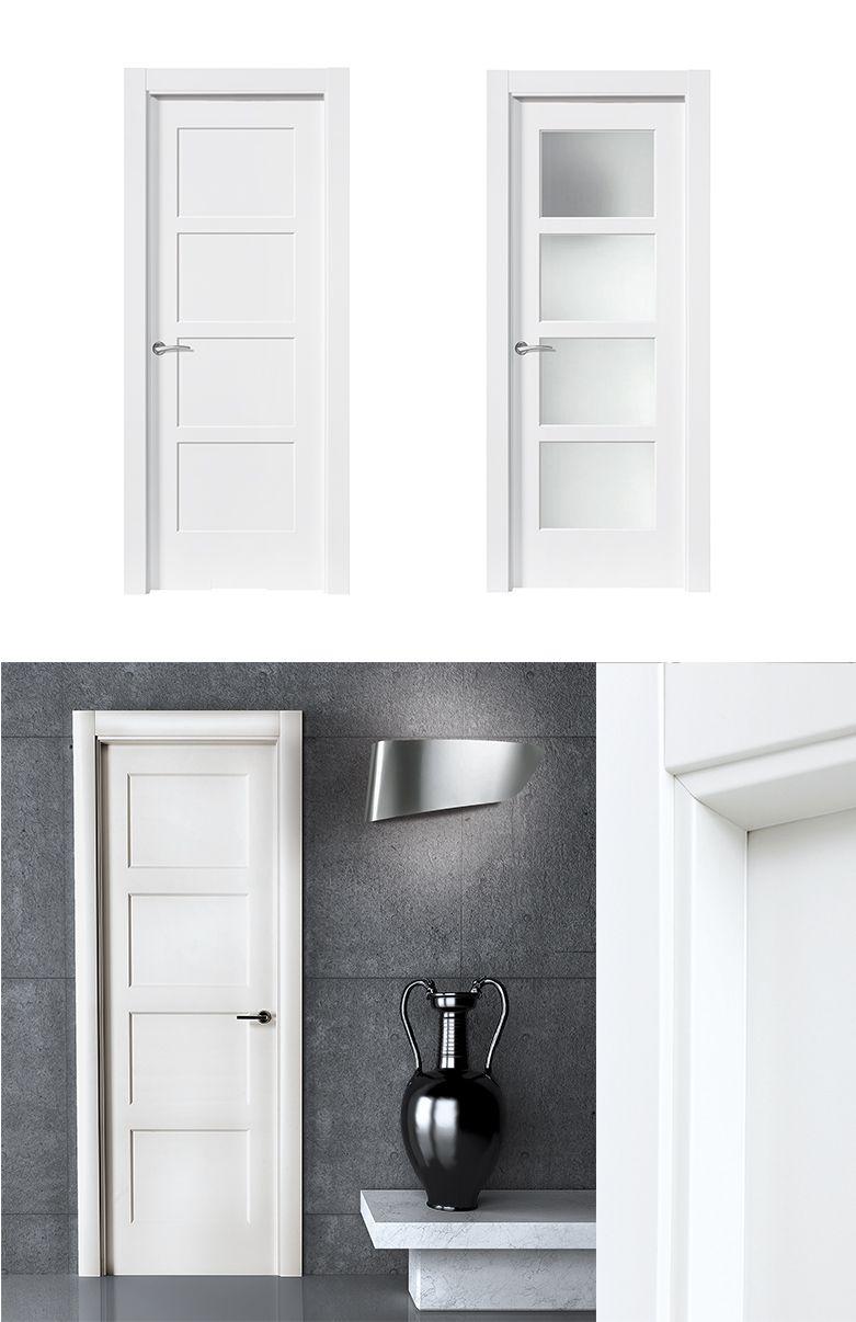 Puerta de interior blanca modelo bosco de la serie for Puertas semi macizas blancas