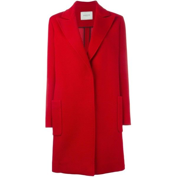 Lanvin classic coat (24.400 NOK) ❤ liked on Polyvore featuring outerwear, coats, red, long sleeve coat, lanvin coat, red coat and lanvin