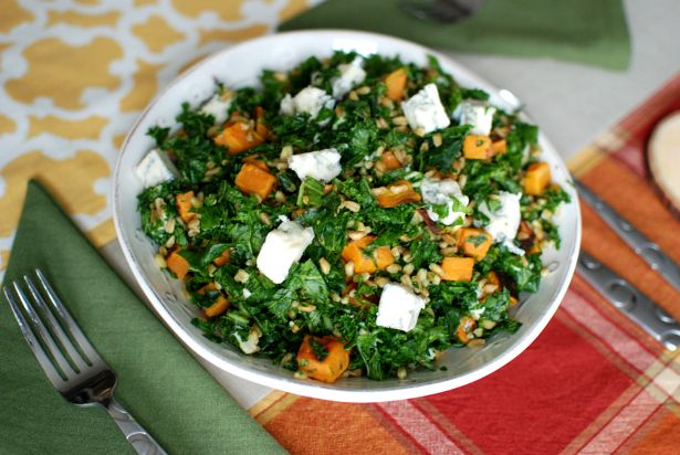 A nice balanced salad with lots of kale and farro that is accentuated with browned sweet potato, funky blue cheese, and a little truffle oil. Food In My Beard