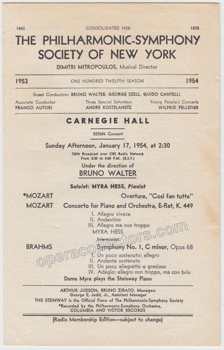 Walter Bruno  Carnegie Hall Program With Pianist Myra Hess