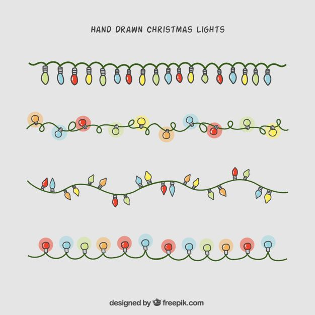 Hand,drawn christmas lights collection Free Vector