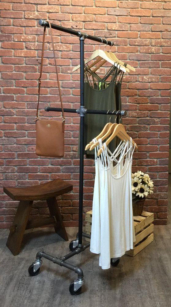 Vintage Rolling Clothing Garment Rack 4 Way Industrial Pipe Rack Retail  Fixture