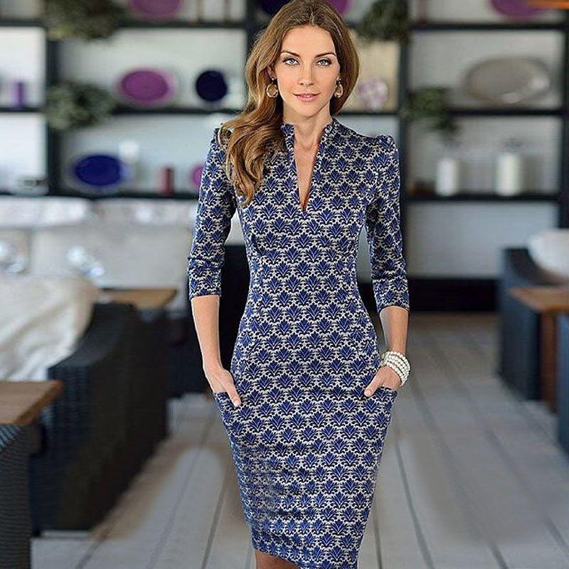 14dfc1eefc 2015 nova moda vestido desgaste meia manga pescoço elegante escritório  vestido com bolsos de alta qualidade do vestido em Vestidos de Roupas e  Acessórios no ...