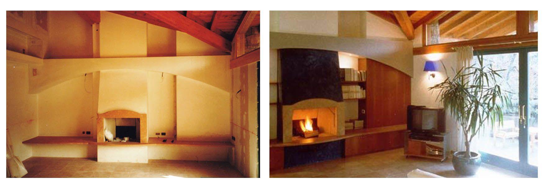 Ristrutturazione e arredo villa unifamiliare camino come for Arredamento moderno ma caldo