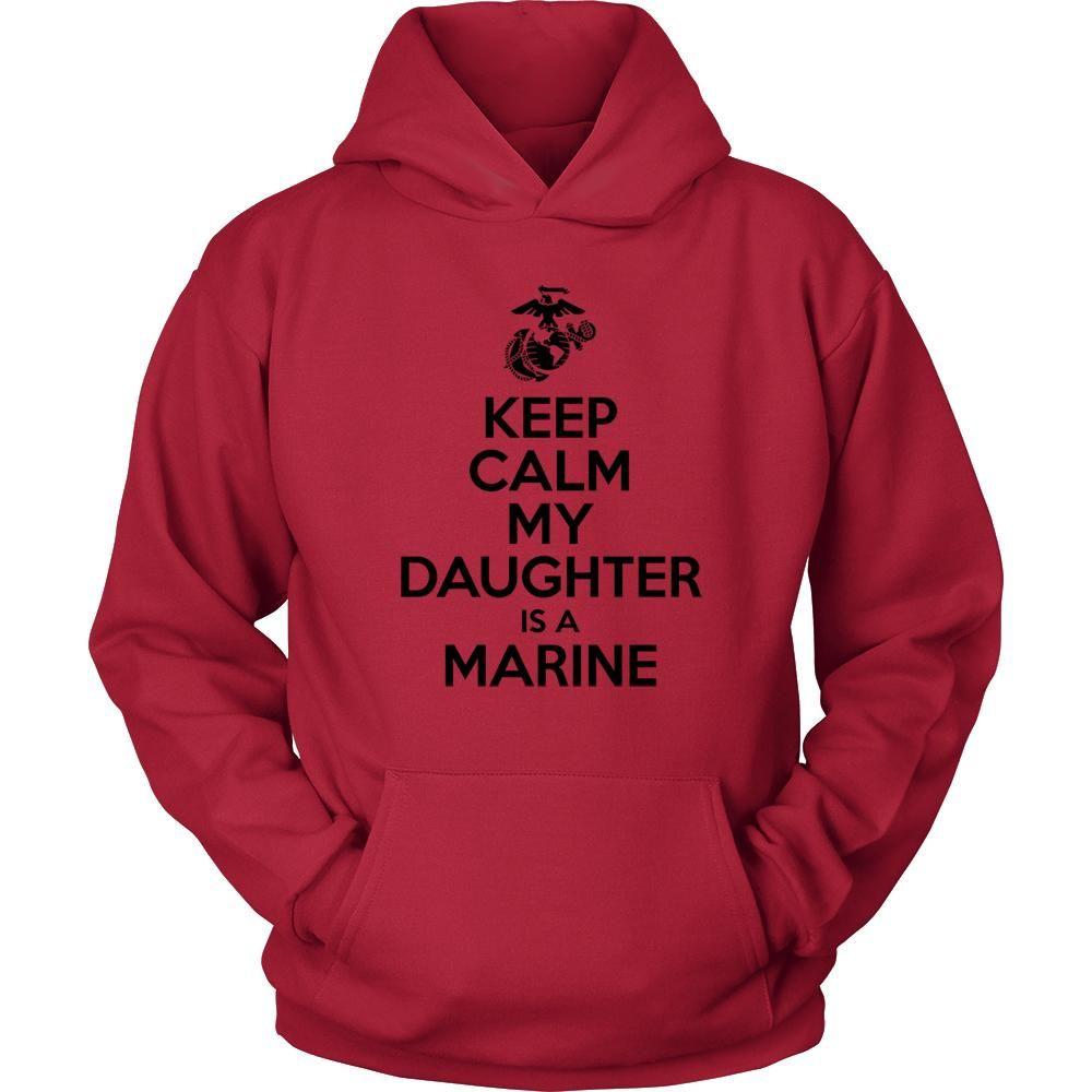 Keep calm my daughter is a marine army hoodie usmc