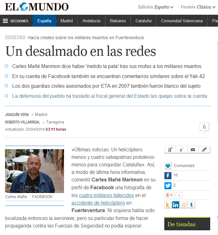 WEBSEGUR.com: EL TUIT DE CARLES MAÑE SE EXTIENDE POR LOS MEDIOS
