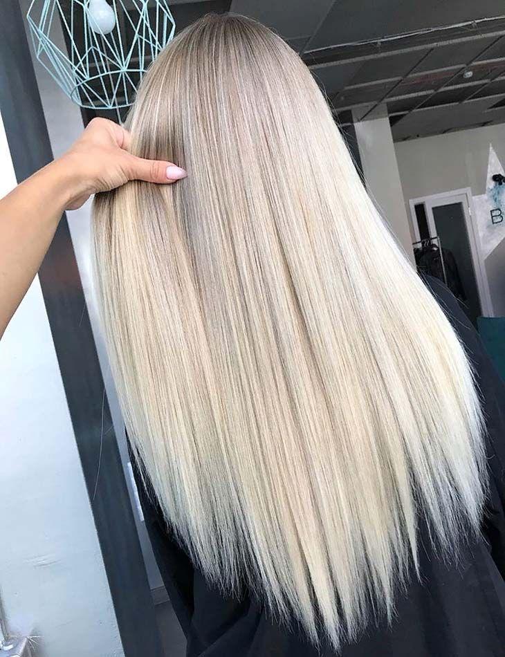 Gorgeous Long Sleek Straight Blonde Hairstyles For 2019 Straight Blonde Hair Long Sleek Hair Pretty Blonde Hair