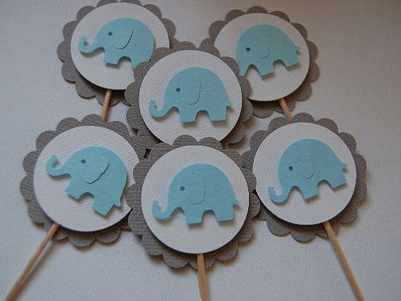 It/'s a Boy Baby Shower Gray and Blue Elephant Cake Cupcake Topper Picks Best